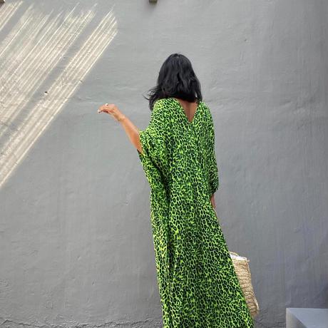 レオパード カフタン ドレス/Green