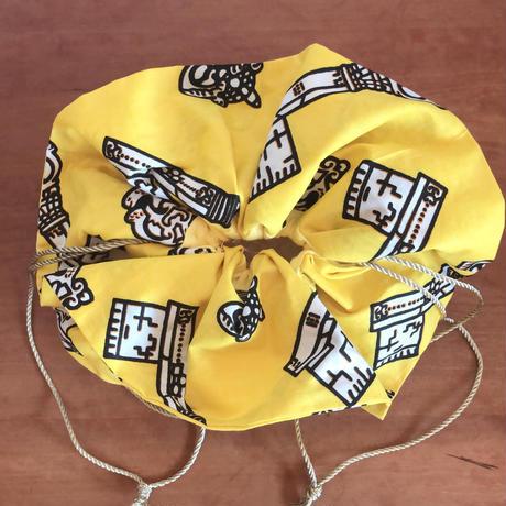 フラワー巾着 アフリカンファブリック キー