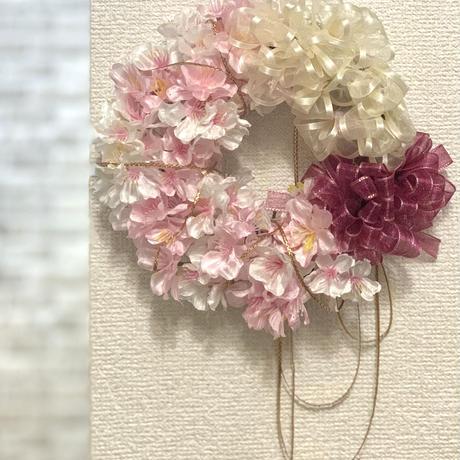 桜のリボンリース
