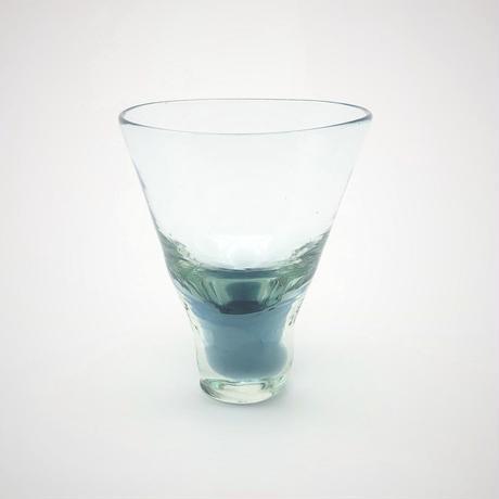 おおやぶみよ_高台付グラス(ブルーグレー)