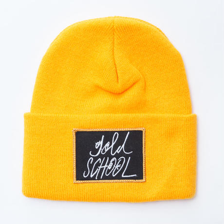 gold school logo knit cap