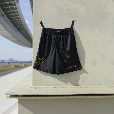 gold school nylon mesh shorts