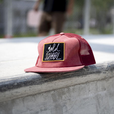 gold school logo mesh cap