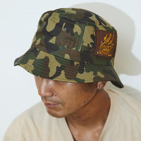 gold school camo hat