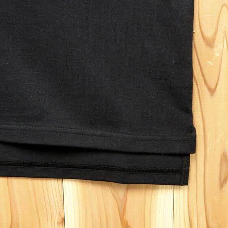 HOFI-010 インド超長綿 アイレット襟Tシャツ (レディース)ブラック