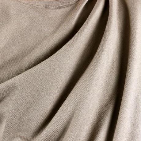 HOFI-008 インド超長綿天竺 タック襟丸首Tシャツ (メンズ)ライトモカ