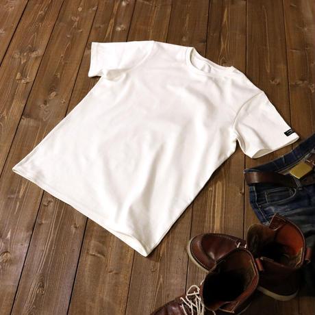 HOFI-008 インド超長綿天竺 タック襟丸首Tシャツ (メンズ) ホワイト