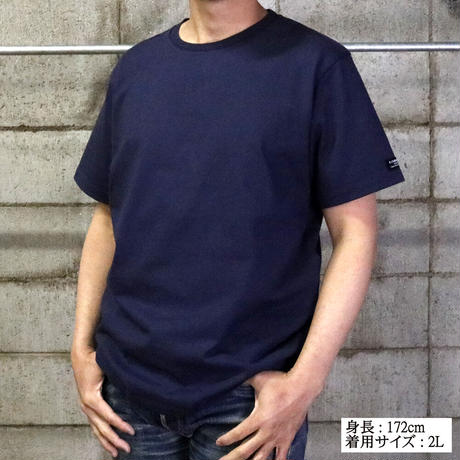 HOFI-008 インド超長綿天竺 タック襟丸首Tシャツ (メンズ) ネイビー