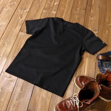 HOFI-008 インド超長綿天竺 タック襟丸首Tシャツ  (メンズ) ブラック