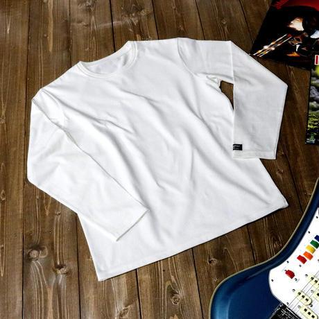 HOFI-011 インド超長綿 タック襟長袖Tシャツ (メンズ) ホワイト