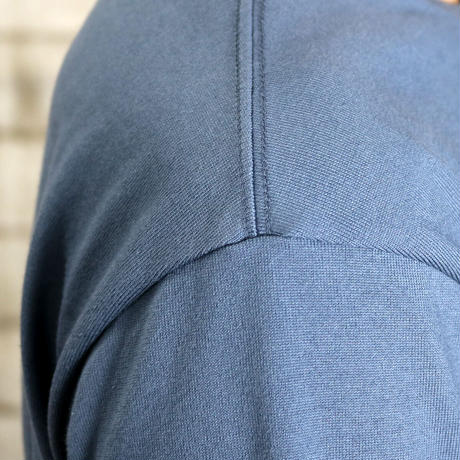 HOFI-008 インド超長綿天竺 タック襟丸首Tシャツ (メンズ)ブルー