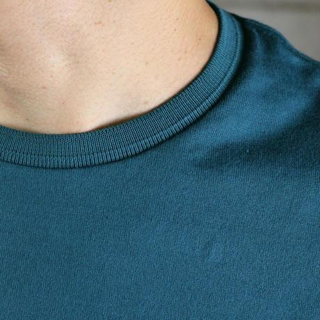 HOFI-008 インド超長綿天竺 タック襟丸首Tシャツ (メンズ)ディープグリーン