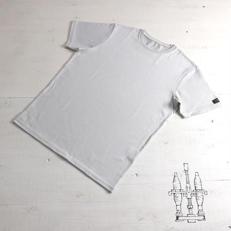 HOFI-008 インド超長綿天竺 タック襟丸首Tシャツ (メンズ) シルバー