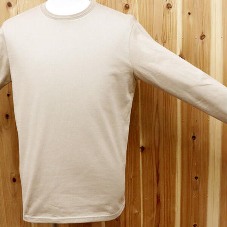 HOFI-011 インド超長綿 タック襟長袖Tシャツ (メンズ) フラックス