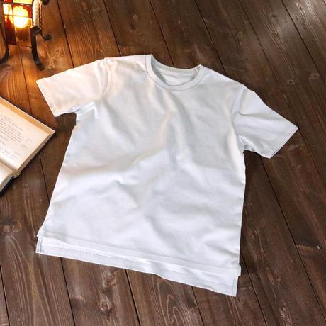 HOFI-010 インド超長綿 アイレット襟Tシャツ (レディース) シルバー