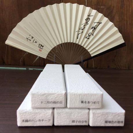 白竹堂謹製・松本隆筆入り扇子5種セット