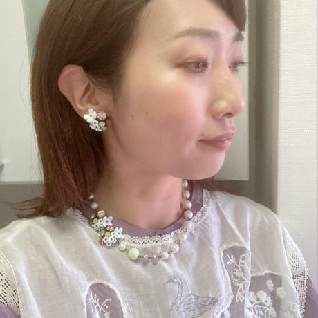 〖NECKLACE〗フラワーモチーフパールネックレス