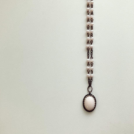 〖NECKLACE〗ヴィンテージ オーバルショートネックレス ベビーピンク