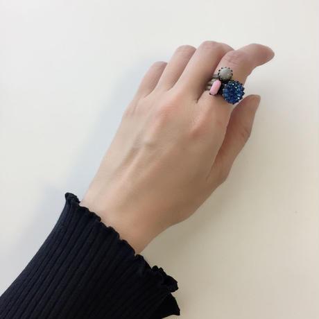 〖RING〗ヴィンテージ レクタングルガラスリング  ピンク