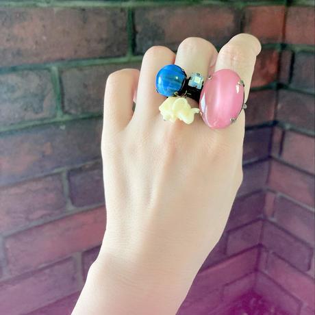 〖RING〗ギブレガラススクエアリング ブルー