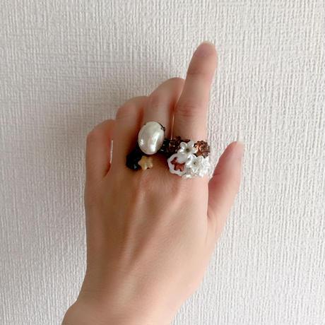 〖RING〗ヴィンテージオーバルリング ガラスパール
