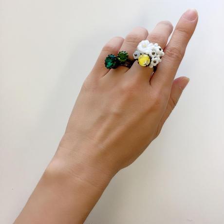 〖RING〗ヴィンテージ ラウンドリング大 エメラルドグリーン