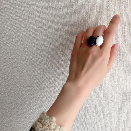 〖RING〗ヴィンテージ オーバルガラスリング ミルクガラス
