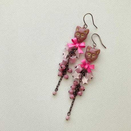 〖PIERCE・EARRING〗ピンクのネコピアス