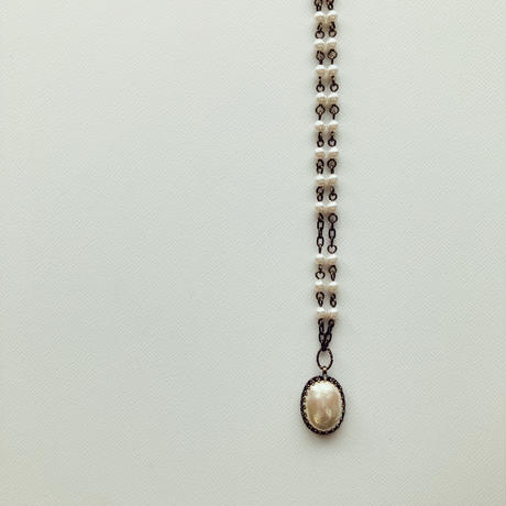 〖NECKLACE〗ヴィンテージオーバルショートネックレス ガラスパール
