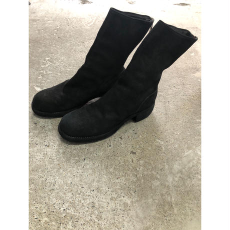 GUIDI:788Z HORSE REVERSE,LINED BACK ZIP MID BOOTS,THICK SOLE LEATHER