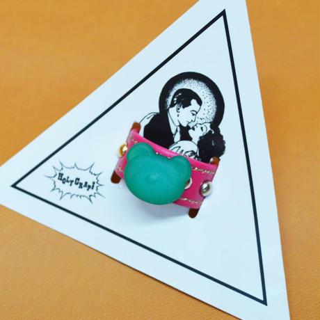 ★新作★ LEATHER RING (グリーンクマ)