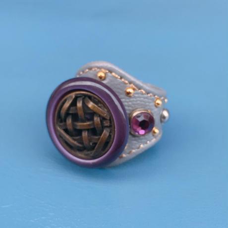 ★新作★Leather Ring (グレーパープル)
