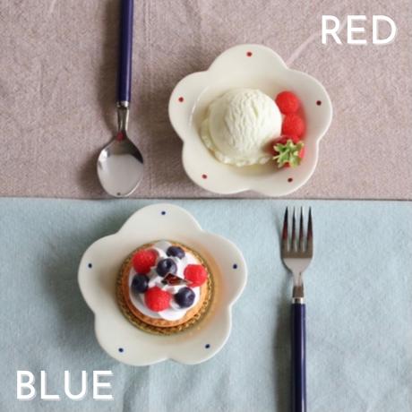 花咲く お花プレート 2色 ブルー・レッド