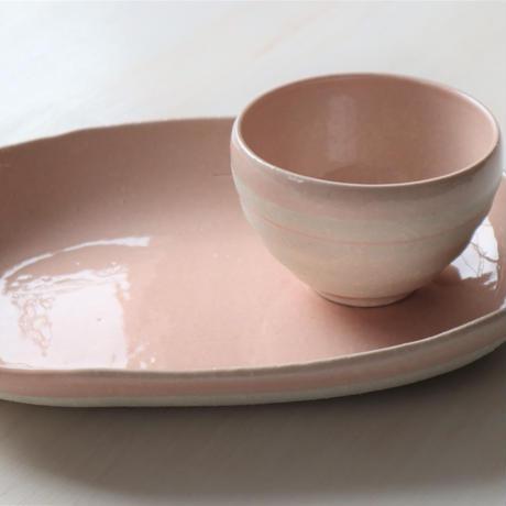 パステルピンク オーバル皿 楕円 カレー皿