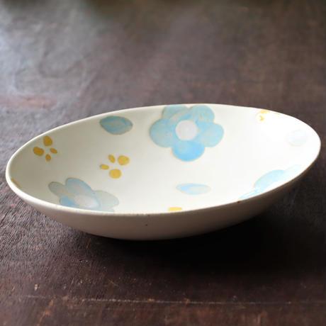 アンティークフラワー ブルー 花 オーバルカレー皿