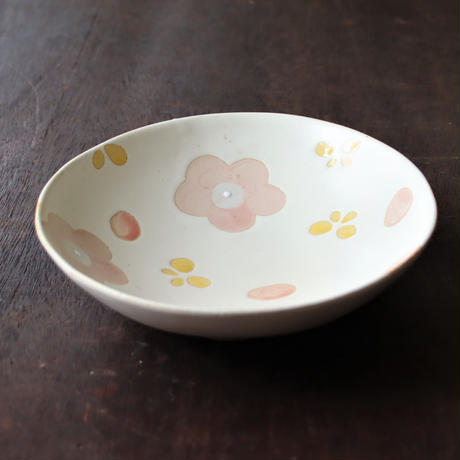アンティークフラワー ピンク 花 オーバルカレー皿