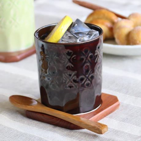 陶切子スタイル ロックカップ ブラウン