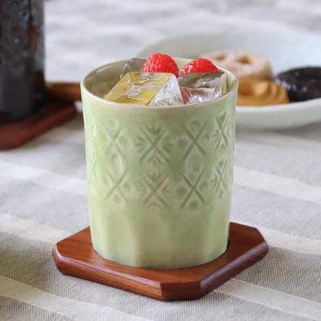 陶切子スタイル ロックカップ グリーン