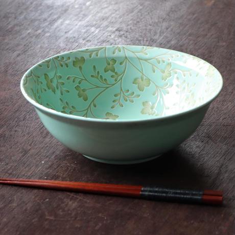 【箸付き】ターコイズイエローフラワー ラーメン鉢