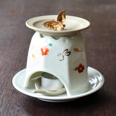 癒し和うさぎ アロマ 茶香炉 ロウソク付き