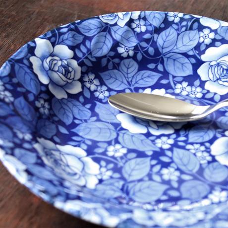 【5枚お買い上げでスプーンプレゼント!】瑠璃色ローズ カレーパスタ皿