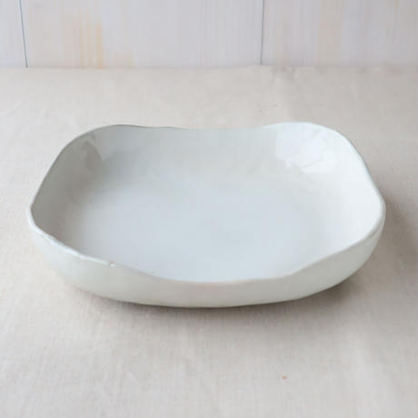 粉引白雲 角盛鉢