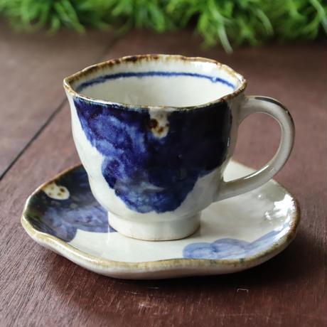 福来る和のうつわ 藍大花コーヒーカップ&ソーサー
