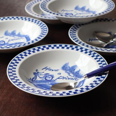 Have a picnic 瑠璃格子 リムスープ皿