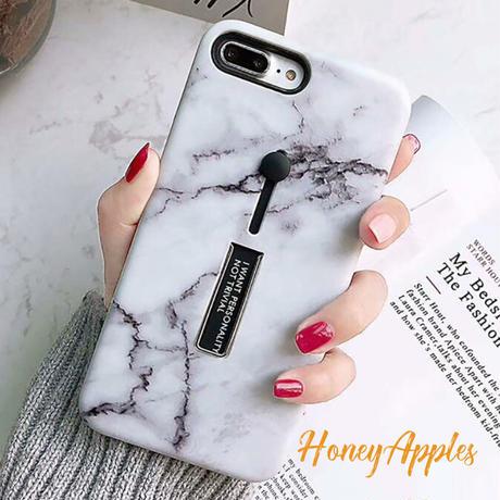 大理石柄 リング・スタンド付き ホワイト ( White )  iPhoneケース ※新機種対応