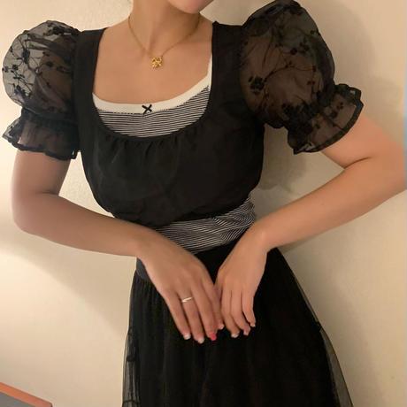 black puff tyrol blouse