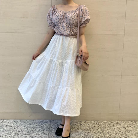 cotton lace tiered skirt