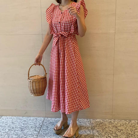 gingham check one-piece