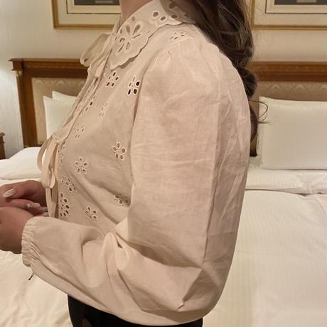 cotton lace ribbon blouse