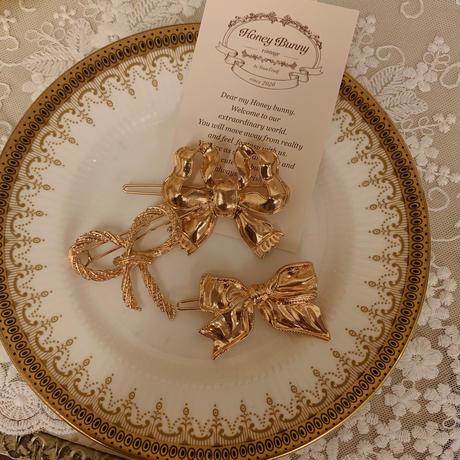 antique gold ribbon hair pin